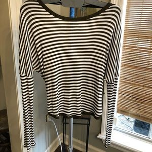 Striped top with back knot closure